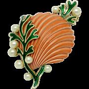 CROWN TRIFARI  'Under The Sea' Enamel Pearl Seashell Sea Shell Brooch Pin