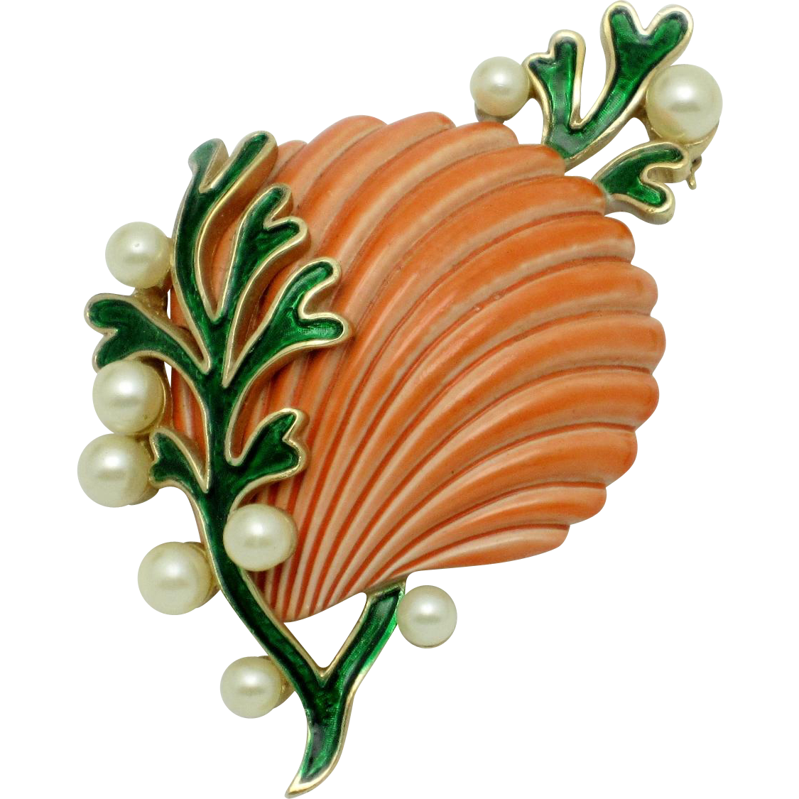 CROWN TRIFARI  'Under The Sea' Enamel Pearl Seashell Sea Shell Brooch Pin