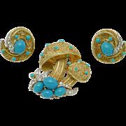 CROWN TRIFARI Mushroom Brooch and Earrings SET Vintage 1960s