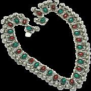 ART DECO 1930s Moghul Emerald Ruby Glass Cabochon Collar Necklace