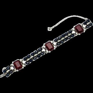 TRIFARI STERLING Philippe BraceletPatriotic WW2 Red Blue Crystal  1942-43