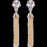 Vintage 4 Inch Shoulder Duster Rhinestone Pierced Earrings