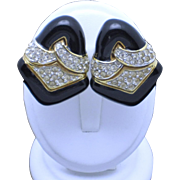 Classy CINER  Black Enamel Rhinestone Gold Plated Clip Earrings