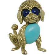 CROWN TRIFARI Figural Poodle Brooch Pin Turquoise Glass Belly Gold Plated