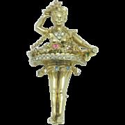 VERY RARE Vintage 1948 CORO Katz Flower Girl Rhinestone Enamel Brooch Pin