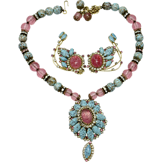 Rare HOBE Egyptian Revival Necklace, Brooch, Pendant, Ear Climbers Parure