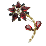 Signed SCHREINER Ruby Crystal Rhinestone Flower Floral Figural Brooch Pin