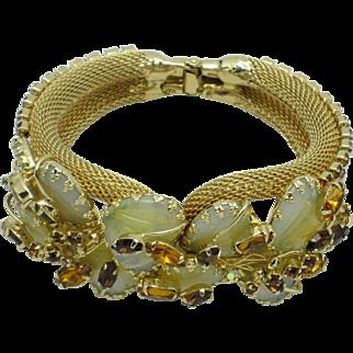 Gorgeous HOBE Mayorka Petals  JULIO MARSELLA Art Glass Clamper Bracelet