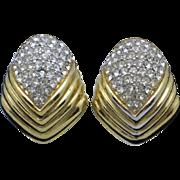 CINER  Gold Plated Diamante  Rhinestone Clip Earrings