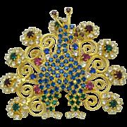 Pristine HOBE Peacock Figural Brooch Gold Plated Rhinestone