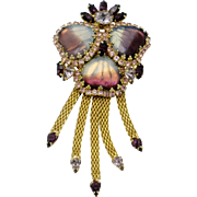 HOBE Purple  Mayorka Petals Glass Rhinestone Dangle Brooch Pin