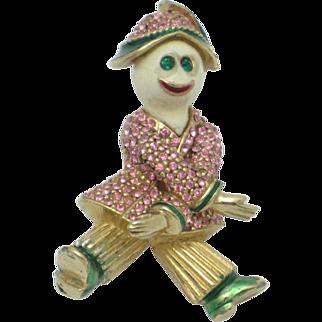 1950s Rare CINER  Clown Hobo Rhinestones Enamel Figural Brooch Pin
