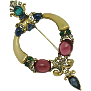 CROWN TRIFARI Sterling Jewels of TANJORE Scepter Brooch Pin Vintage 1945