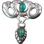 William Fuglede Skonvirke Brooch with Green Stones