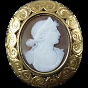 Victorian 14 Karat Gold Cameo Brooch Pendant