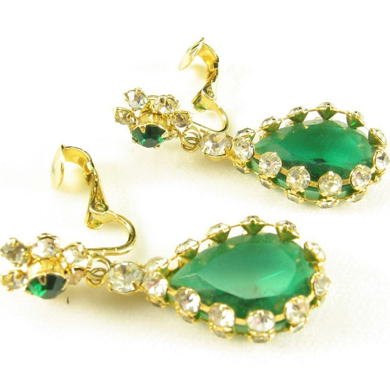 Glamorous Emerald Rhinestone Earrings Framed with Clear Stones