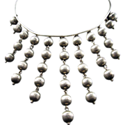 Modernist 800 Silver Bib with Cascading Balls