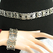 Rafael Melendez Mexican Bracelet and Belt Set Circa 1940