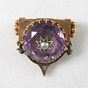 Charming Victorian Gold and Amethyst Brooch
