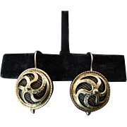 Victorian Shadowbox Gold Earrings With Plaited Hair
