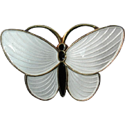 Aksel Holmsen White and Black Enamel Butterfly Brooch