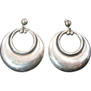 Large Mexican Silver Dangling Hoop Earrings