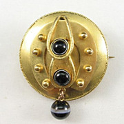 Gold-plated Victorian Brooch with Banded Agate Paste