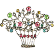 Edwardian Paste, Marcasite and Silver Flower Basket Brooch