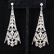 Belle Epoque French Paste Shoulder Duster Earrings