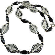 Art Deco Crystal Necklace with Etched Bunches of Grapes