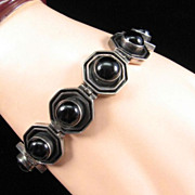 Vintage Sterling Silver Bracelet with Hexagonal Links and Onyx