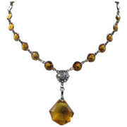 Art Deco Sterling and Paste Necklace