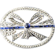 Art Deco Marcasite, Sapphire and Paste Bow Brooch