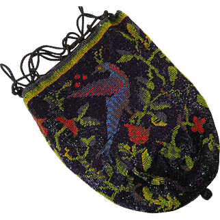 Outstanding Antique Beaded Purse with Pattern of Birds and Flowers