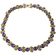 Antique Amethyst Paste Necklace Set in Gilt Silver