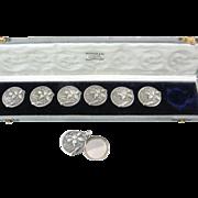 Art Nouveau Slip Locket Set with Six Buttons and Original Case