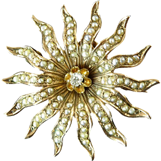 Edwardian Seed Pearl, Diamond, and 12 Karat Gold Sunburst Brooch Pendant