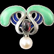 Art Nouveau Plique a Jour Brooch with Garnet and Cultured Pearl