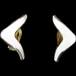 White Enamel and Gilt Sterling Earrings by J. Tostrup