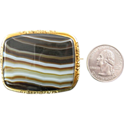 Large Antique Banded Agate Brooch with Pinchbeck Setting