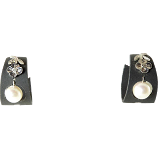 Marsh Blackened Steel, White Gold, and Cultured Pearl Earrings