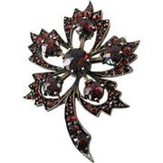 Victorian Garnet Flower or Leaf Brooch