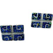 Margot de Taxco Blue Enamel Earrings with Pre-Columbian Design