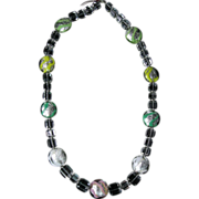 Rock Crystal and Foiled Art Glass Bead Necklace