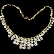 Unusual Rhinestone Fringe Necklace on Beaded Chain