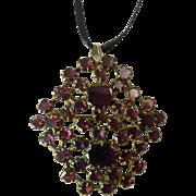 Queen Anne Style Georgian Garnet Brooch / Pendant