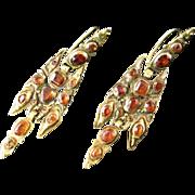 Rare 18th Century Catalan Hessonite Garnet Earrings