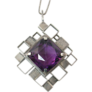 Modernist Sterling Pendant with Large Amethyst Paste Stones