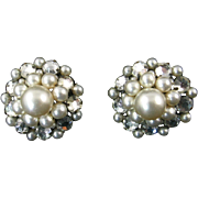 Louis Rousselet Faux Pearl and Rose Montee Button Earrings