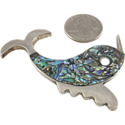 Large Mexican Modernist Sterling and Abalone Fish Brooch by Beto